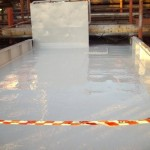 Completed coating on section of deck