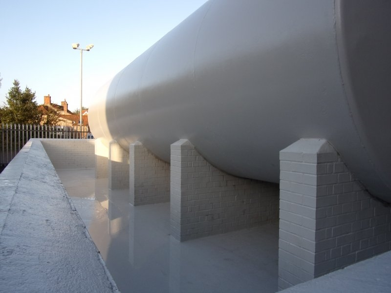 Completed chemical storage tank and secondary containment using Chemco