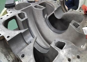 Pump casing after abrasive blasting