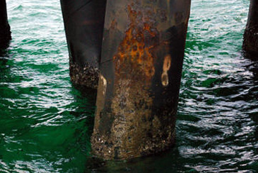 Typical corrosion on a jetty