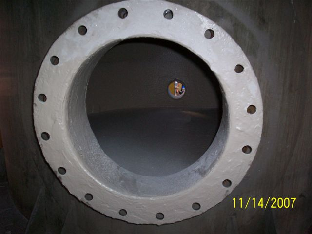 Pressure vessel flange coated with Chemco