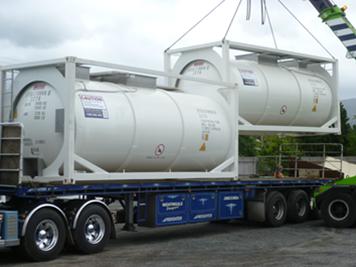 sodium hypochlorite loading onto truck